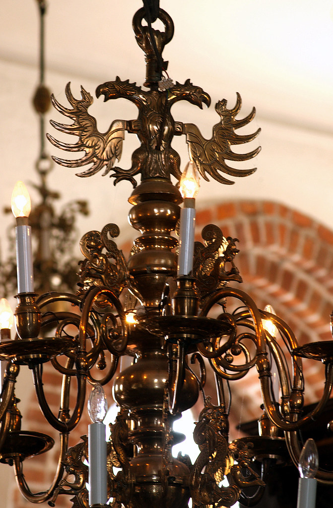 Eckernförde, Schleswig Holstein, Nikolaikirche, Brass Chandelier, Detail  (groenling) Tags
