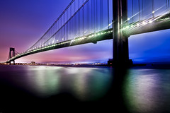 Verrazano - Narrows Bridge, first light (mudpig) Tags: nyc newyorkcity longexposure bridge newyork night geotagged hudsonriver statenisland verrazanobridge hdr verrazanonarrowsbridge verrazano mudpig stevekelley