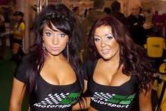 People - Girls - Chelsey (Left) & Jenny (Right) - Black Haired and Brunette Haired Girl - Handy Motorsport - Karcher - Autosport 2010 - Birmingham NEC - 100117 - Steven Gray - IMG_1425