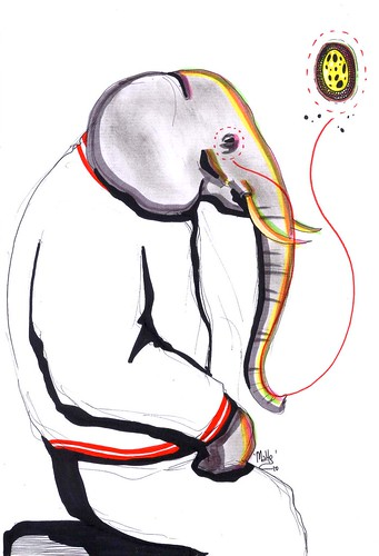 the elephant thinking about something
