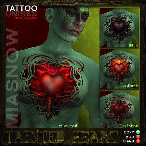 TAINTED HEART Tattoos. MIASNOW Tattoo Pack for the Tainted Love Hunt.