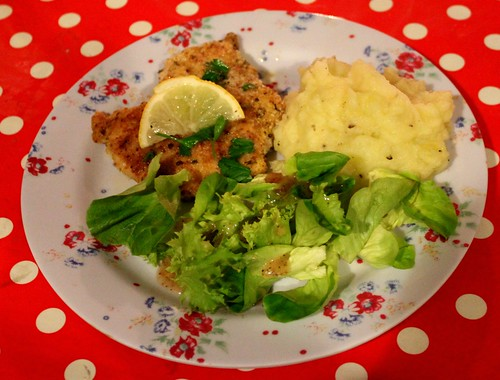 chicken piccata, buttermilk mashed potatoes, and salad.