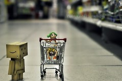 First time at the Grocery Store (Violet Kashi) Tags: japan comics toy 50mm robot nikon dof bokeh manga shoppingcart grocerystore nikkor yotsuba danbo d90 revoltech   kiyohikoazuma  violetkashi