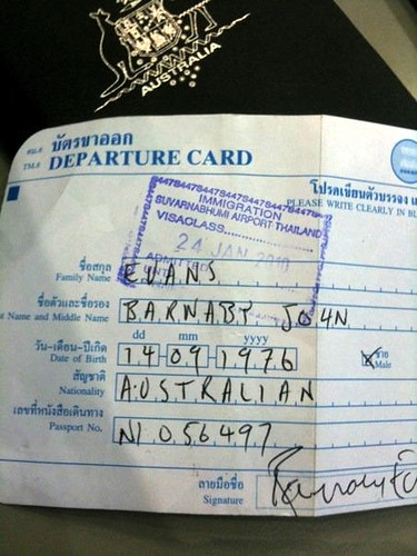 Thai Departure Card