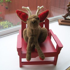 Baby Jackalope in a Little Chair