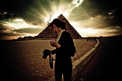 Michelle at the Pyramids (Cody Bralts) Tags: winter ancient desert pyramid empty michelle egypt cairo pyramids february giza vast