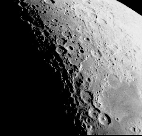 An image by David Dench (d.j.dench@hud.ac.uk) of the same area the previous night  Copied with permission from his webpage.  The two images above are each as they came from the cameras and should be flipped to match uninverted moon maps.