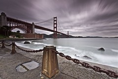 Fort Point - San Francisco, California, USA (Rich Capture) Tags: sanfrancisco california storm reflection clouds fence chain goldengatebridge richard fortpoint marinheadlands pilers richardmatyskiewicz matyskiewicz