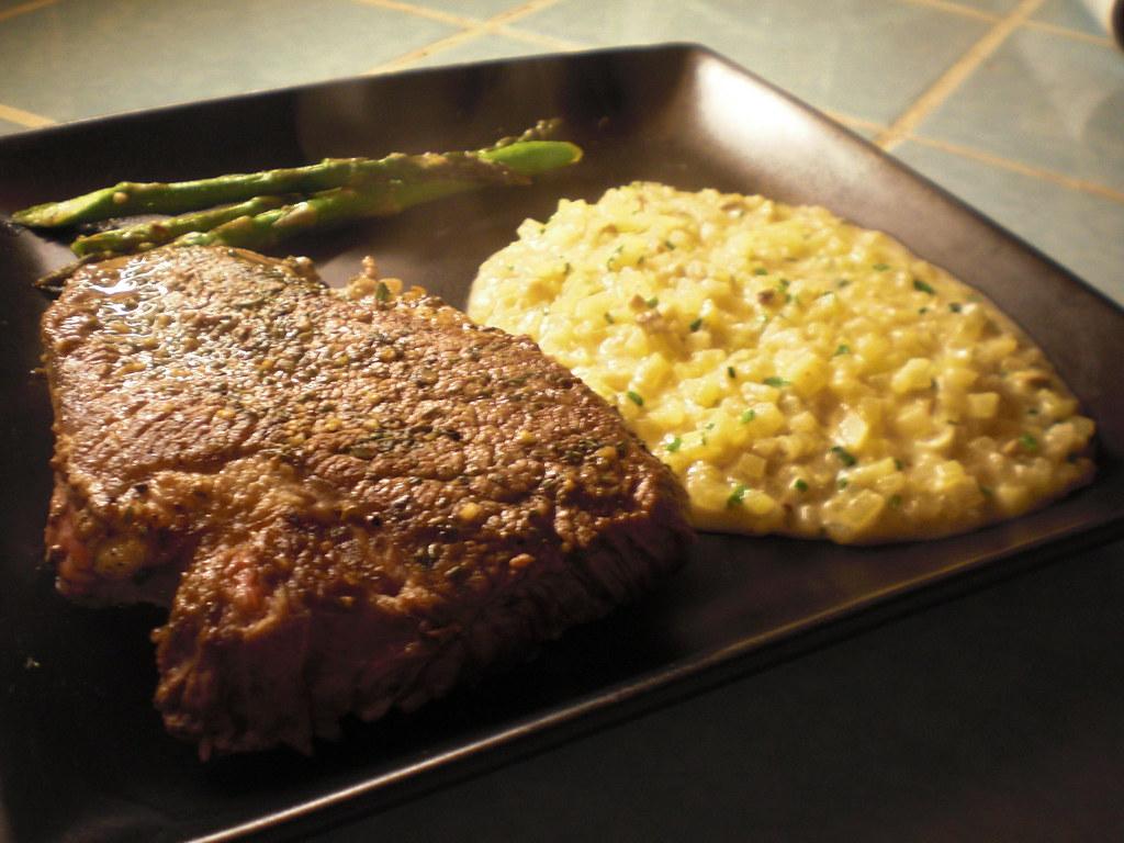 Steak & Potato Risotto w/ Mushrooms & Asparagus