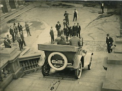 Overland car being driven down steps of Sydney Town Hall, 1920 - 1929