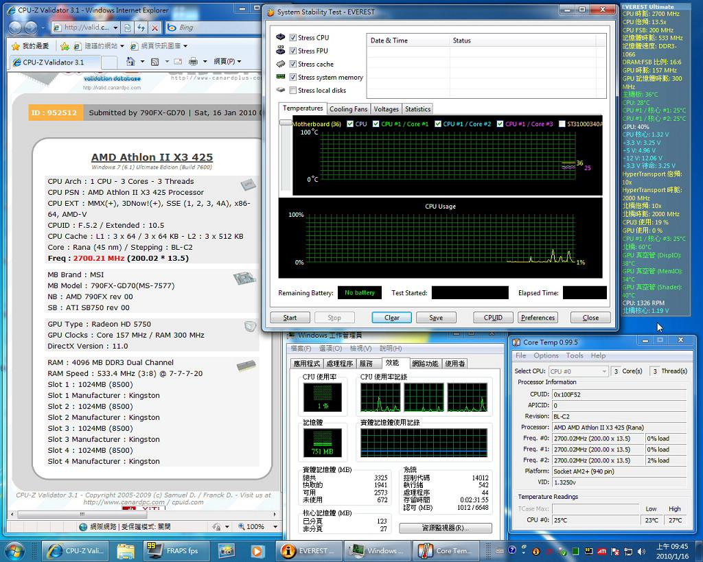 Cpu Athlon Ii X3 425 Pcdvd Amd 200 X 13527ghz32core Temp33