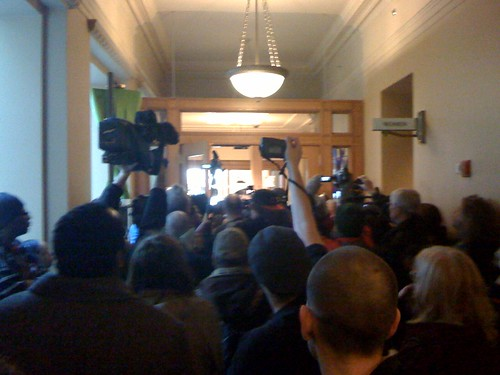 Crowds outside Adams office