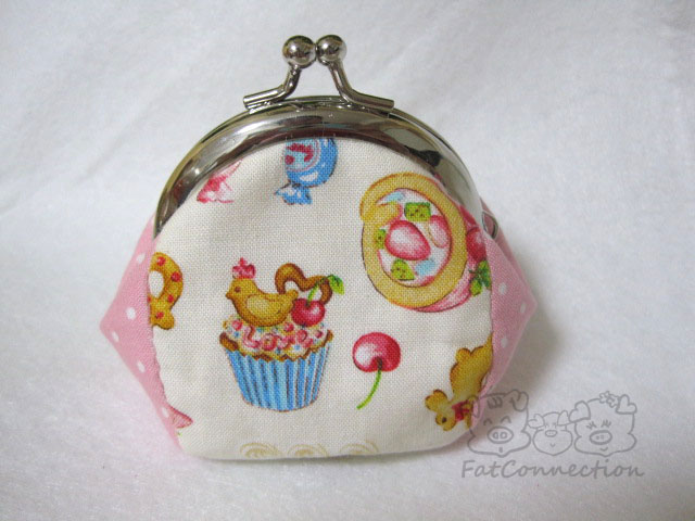 metal clutch frame, japanese fabric, sweet time, yummy treats, cup cakes, sweet, cute