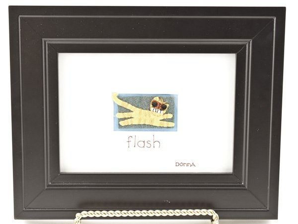 Donna Lohrs Flash depicts one of those lovely little buddies that keep us company in life. I think we all know a cat like this.  A framed reminder to Live Out-loud!