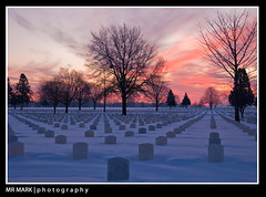Winter Rows, Fort Snelling National Cemetery, Minneapolis, MN (MR MARK | photography) Tags: snow cold cemetery graveyard lines sunrise headstones national rows fortsnelling nationalcemetery