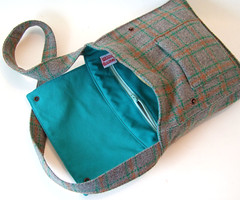 Green and Rust Plaid Wool Satchel (Wooly Bison Bags) Tags: seattle wool rain messenger etsy wooly bison satchel