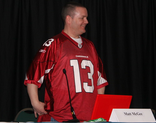 Matt McGee wearing an Arizona Cardinals Jersey