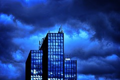 another day in paradise (helen sotiriadis) Tags: blue sky black reflection glass architecture clouds canon published steel athens greece bluehour canonef100mmf28macrousm marousi αθήνα canoneos40d paradisos μαρούσι toomanytribbles updatecollection παραδεισοσ