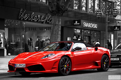 scuderia16m (Murphy Photography) Tags: red black color colour cars speed canon germany eos championship amazing shot ferrari spyder nrw 16 rims ge incredible dsseldorf rosso gelsenkirchen scuderia duesseldorf rar weltmeister selective 430 k knigsallee colorkey 16m 50d eos50d scuderia16m blackwhitewithred