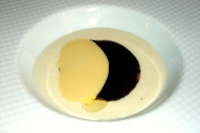 6th Course: Black Truffle Veloute, Celeriac and Parmesan Fondue