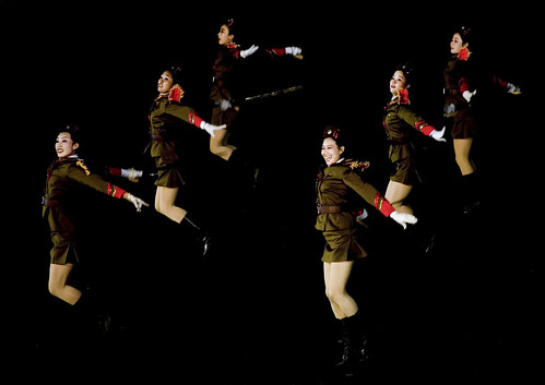Sexy army during Arirang in Pyongyang - North Korea