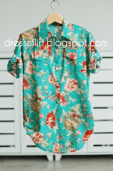 flower shirt  green