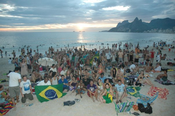 A group of Couchsurfers gathered to watch the sunrise over Copacabana Beach on New Year's day.