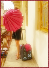 Mama, I'm coming home.. :) (sma_kee) Tags: selfportrait home rain rainyday trenchcoat suitcase spc cominghome selfie youngphotographers pinkumbrella flowersuitcase