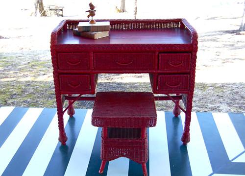 Vintage Red Wicker Desk