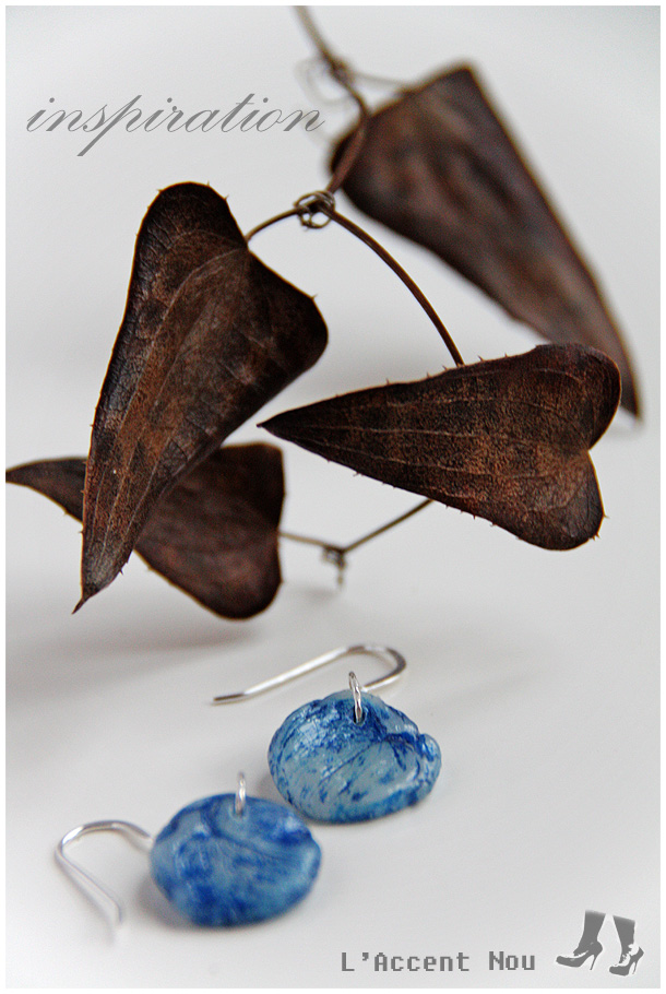 Blue helix Leaves - one of a kind earrings on sterling silver hooks