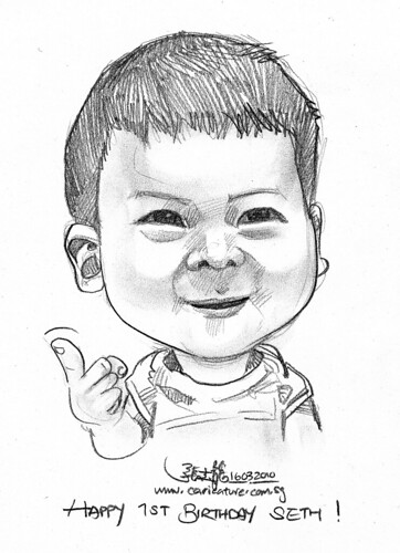 baby caricature in pencil