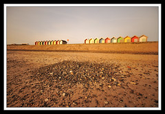 20 BEACH HUTS (Michael Halliday) Tags: morning sky beach coast sand nikon stones north sigma northumberland northumbria northeast southbeach blyth bythesea d90 sigma1020 10stop nikond90