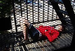First good sun (sidewalk flying) Tags: red sun girl metal hoodie spring steel fireescape lazing magan