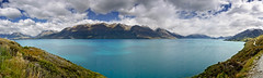 Panorama over the northwest arm of Lake Wakitipu, en route to Glenorchy, New Zealand (goneforawander) Tags: new travel sunset newzealand wild panorama mountains alps nature composite landscape outdoors island nikon scenery stitch natural pacific pano south d70s wideangle southern zealand alpine backpacking montage nz otago queenstown photomerge aotearoa australasia oceania goneforawander wakitipulake
