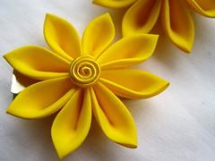 ^_^ (thea superstarr) Tags: seattle flowers flower yellow vintage hair japanese bright handmade ornament fabric hana bloom accessories etsy repurposed accessory tsumami kanzashi theastarr