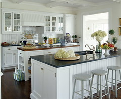 Lynn Morgan Design (It's Great To Be Home) Tags: white kitchen island shaker stools beams styling paneling neutral beadboard cofferedceiling