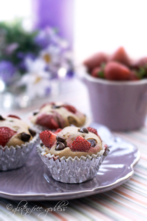 Strawberry Chocolate Chip Muffins Recipe- Vegan and Gluten-Free
