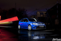 Ford Focus RS Mk2 Performance Blue Long Exposure Collaboration Shot (NWVT.co.uk) Tags: blue light reflection ford night focus long exposure shot low performance trails front quarter mk2 rs collaboratio