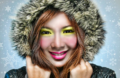 little miss sunshine (anne()marie) Tags: winter snow cold girl fur snowflakes model brush jacket martir cheann