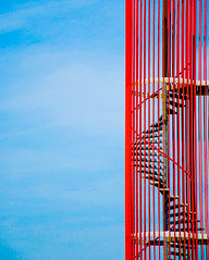Red 'n blue (Just a guy who likes to take pictures) Tags: blue red sky cloud holland color colour building rot netherlands lines amsterdam metal architecture modern clouds stairs photography spring europa europe stair blauw fotografie photographie curves colorphotography nederland thenetherlands wolken jonne line architektur holanda blau lucht curve lente rood paysbas luft trap zeeburg architectuur metaal gebouw niederlande wolk the kleur trappen colourphotography gebaude brandtrap kingma kleurenfotografie jonnekingma