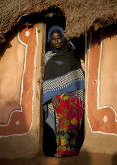 Veiled Borana woman in the entrance of her house - Kenya