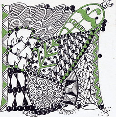 Sprout ~Zentangle Tile ~  Traded (Rose Twofeather) Tags: tile zentangle