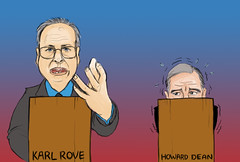 Rove dominates as Dean wimpers, proves Democratic fears true. Illustration by Joanelle Cobos.