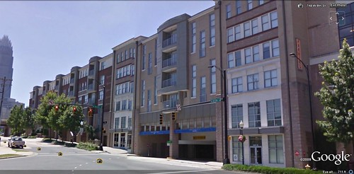 Gateway Lofts in front of Gateway Village parking (via Google Earth)