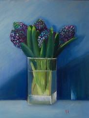 Hyacinths                     34 x 45cms (monique shaw) Tags: blue flower glass transparency ms vase hyacinth originaloilpainting