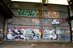 PEMEX, RAYER, AKRE, SHRINK Graffiti - Alameda, CA (EndlessCanvas.com) Tags: yards abandoned graffiti jeans bayarea eastbay piece bombs alameda shrink fills throws pemex throwies rayer akre xooter shrink42