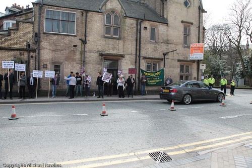 Protesters outside the BNP manifesto launch