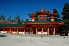 Heian Shrine (Siva_K) Tags: 1100 blue bluesky cherryblossoms colors green jingu kammu orange pinetrees red shinto shrine spring touristspot weepingcherries yellow 京都