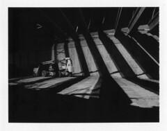 Untitled (donwalheim) Tags: camera bw white tractor black film contrast analog photoshop underpass polaroid san long exposure fuji shadows no release tripod cable pack land instant don antonio notdigital 195 3000iso walheim autaut 3000b panpola donwalheim