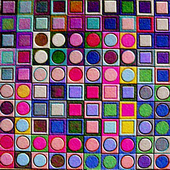 Benedictus or homage to Vasarely (Marco Braun) Tags: color art circle grid colored colourful grille ilusion coloured farbig bunt mucho gitter cercle vasarely optic opart kreise optische tuschung quadrate multichrome couleures